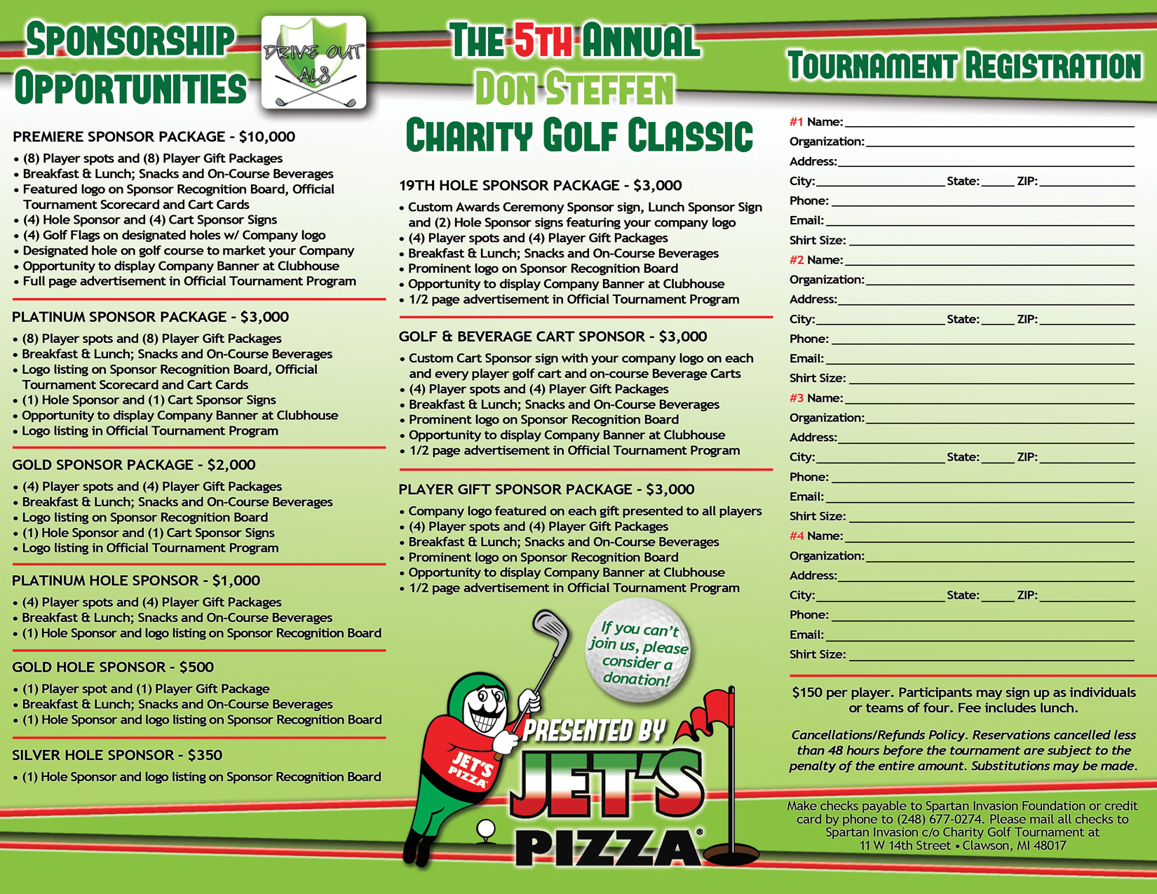 Wonderful Brochures » Jetu0027s Pizza Golf Tournament Brochure